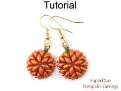 Superduo Beaded Pumpkin Earrings Two Hole Beads