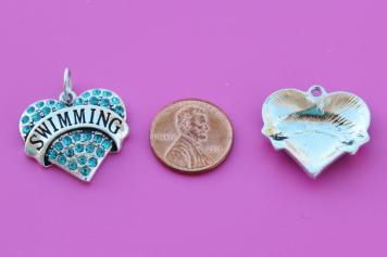 Swimming Heart Charm Dangle Zipper Pull Euro Bead