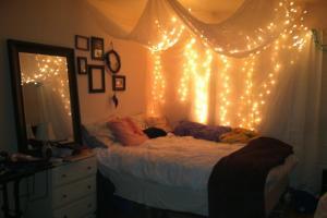 Teenage Girl Bedroom Design Hanging White Canopy Bed