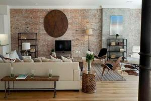 Textured Accent Wall Brick Inside Living Room