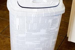 Thekublerhomestead Diy Newspaper Trash Can Makeover