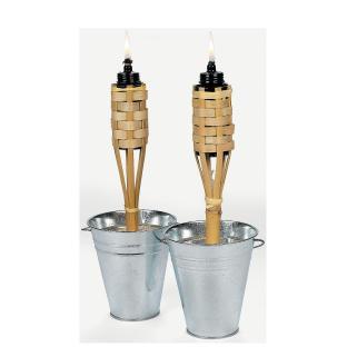 Tiki Torch Set Copper Bamboo Stand Stake Citronella Oil