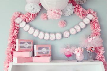Tissue Paper Pompoms Girly Baby Shower Decorations Ballerina