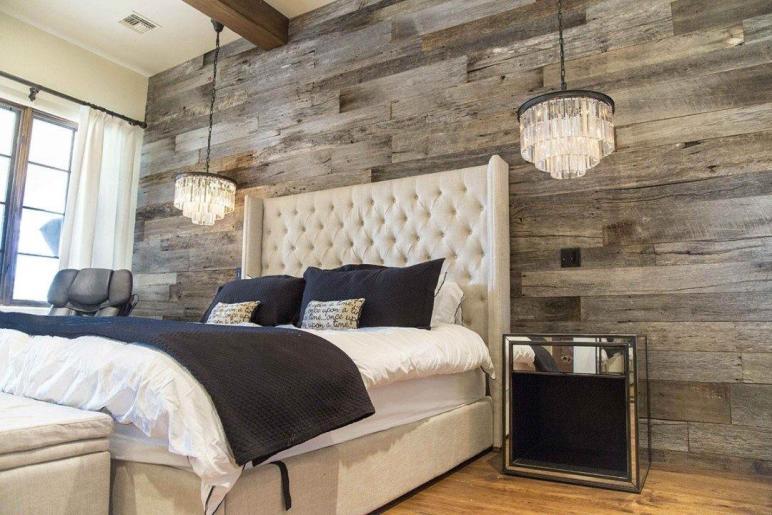 Tobacco Barn Grey Wood Wall Covering Master Bedroom