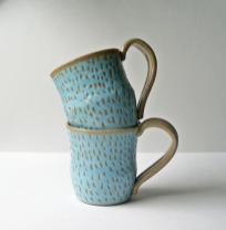 Turquoise Mugs Coffee Cup Handmade Pottery Ready Ship