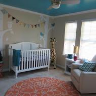 Turquoise Teal Coral Orange Neutral Nursery Project