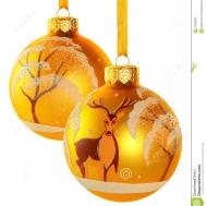 Two Yellow Christmas Balls Stock Feasts