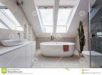 Urban Apartment Bathroom Attic Stock