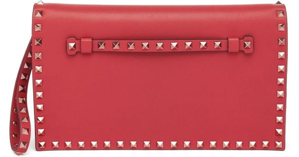 Valentino Rockstud Leather Flap Clutch Red Lyst