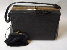 Vintage Black After Five Evening Bag Gold Turquoise