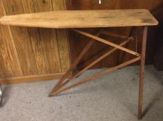 Vintage Folding Wood Ironing Board Wooden Table Bench