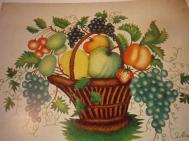 Vintage Folk Art Print Basket Fruit Fine