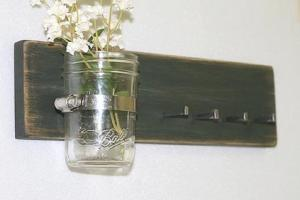 Vintage Green Jewelry Holder Rack Primitive Vase Jar