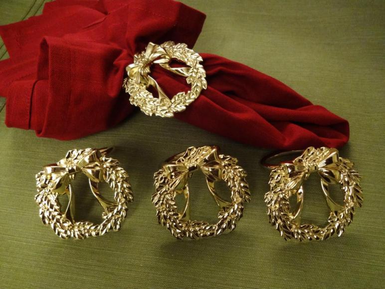 Vintage Holiday Napkin Rings Set Gold Christmas