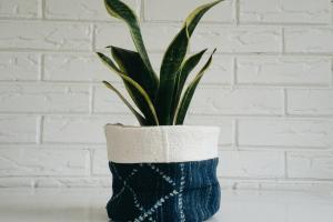 Vintage Mudcloth Plant Cover Planter Fabric