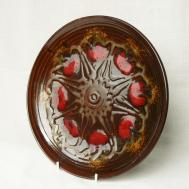 Vintage Wall Decor Big Ceramic Plate Brown Red Colored