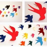Wall Decals Nursery Paper Birds Multicolored Bird