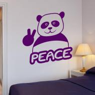 Wall Stickers Funny Panda Peace Hippie Pacifism Art Mural