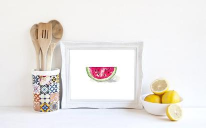 Watermelon Print Decor Food Art Kitchen