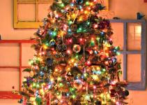 White Christmas Tree Colored Lights Lamps Ideas