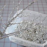 White Christmas Tree Silver Decorations Diy Glitter