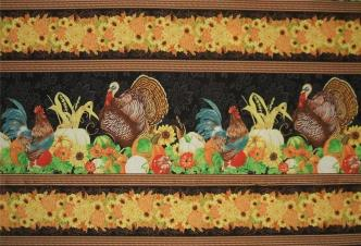 Wilmington Harvest Time Fall Turkey Border Cotton Fabric