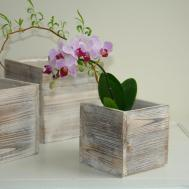 Wood Box Woodland Planter Flowers Vases Rustic Pot Square