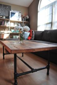 Wood Coffee Table Steel Pipe Legs Made