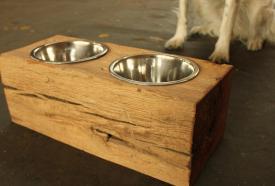 Wood Dog Dish Holder Reclaimed Barn Beam Bowl