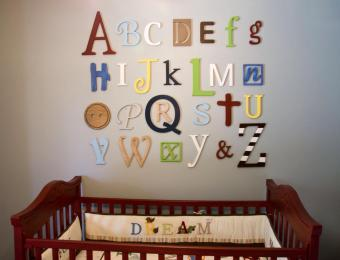 Wooden Alphabet Letters Set Painted Wall