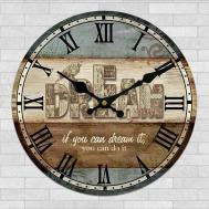 Wooden Home Wall Clock European Style Round Colorful Retro