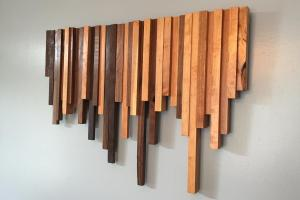 Wooden Wall Art Cherry Walnut Strips Decor Wood