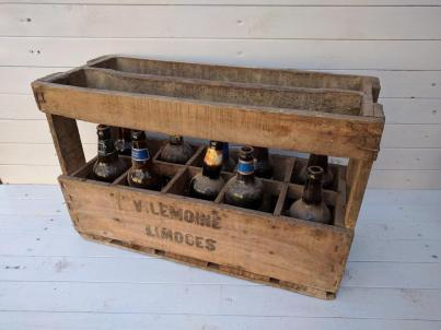 Wooden Wine Bottle Crate Vintage French Hand