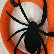 Yarn Wreath Halloween Pumpkin Spice Spider Black Door Hanging
