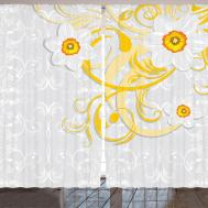 Yellow Grey Curtains Daffodils Floral Patterns Spring