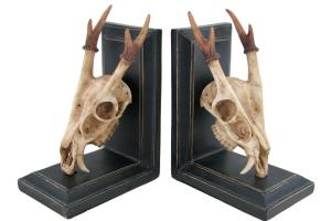Zeckos Muntjac Deer Skull Antlers Decorative Bookends