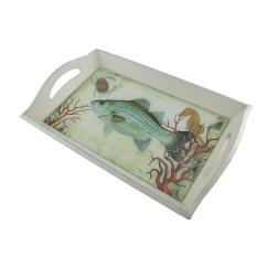 Zeckos White Wood Glass Under Sea Decorative