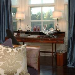 Gray And Turquoise Living Room French Country Design Ideas Blue Silk Curtains - Transitional Den/library/office
