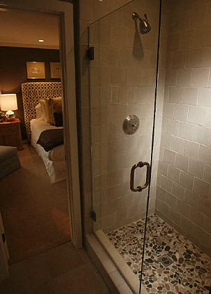 Pebble Shower Floor  Transitional  bathroom  OC Register