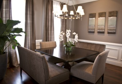 Transitional Cream Dining Room With Curved Back Chairs