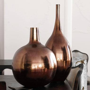 Brushed Bronze Metal Vases