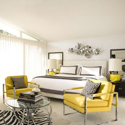 yellow and gray accent bedroom Yellow And Gray Bedding Design Ideas