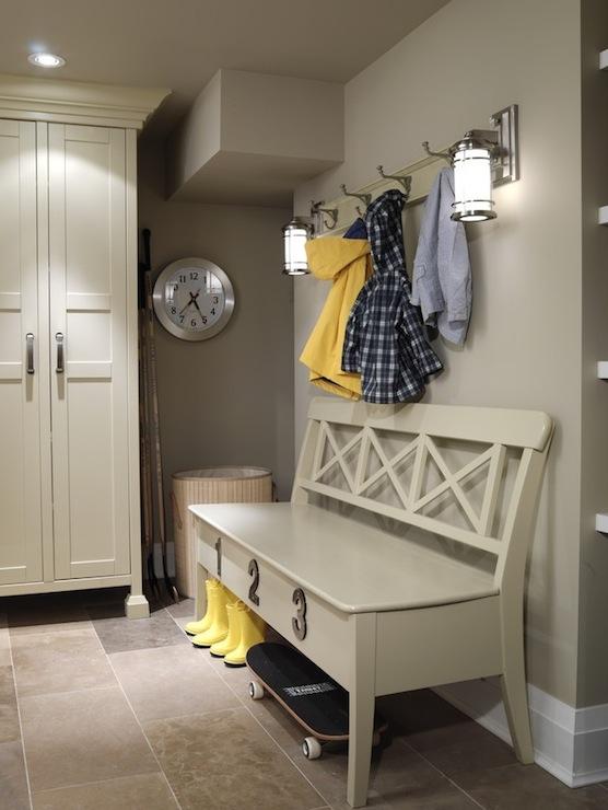 Mud Room Design  Cottage  laundry room  ICI Dulux toast gray  Sarah Richardson Design