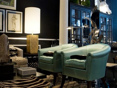 Teal Chairs  Contemporary  living room