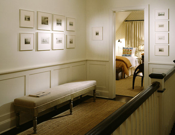 entrances/foyers - bench photo gallery wainscoting tan beige brown white gray hall  Top Design 2: Nathan Egan!  Love this small hall with photo