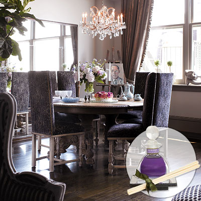 purple upholstered dining chairs white childs rocking chair eclectic room
