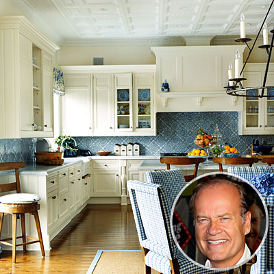 kitchens - ivory cream cabinets blue tiles backsplash blue white cream kitchen  Kelsey Grammar's blue kitchen!   Cream kitchen cabinets with