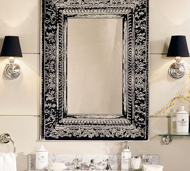 Black And Silver Floral Wallpaper Black And White Etched Mirror