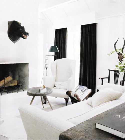 Black Velvet Curtains  Eclectic  living room  Darryl Carter