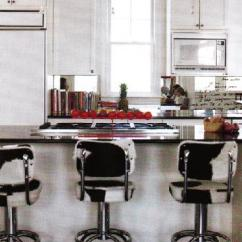 Bar Height Kitchen Island Portable Cart Cowhide Stools - Transitional